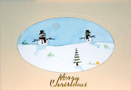 Handmade Christmas cards, Hand painted Christmas cards,snowmen enjoying Christmas in the snow