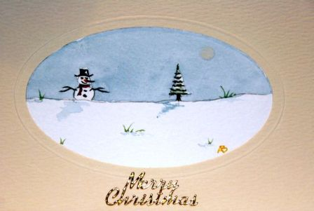 Lone snow man card