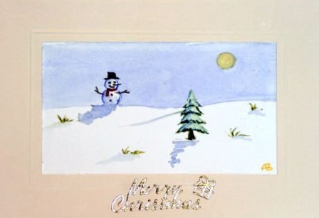 Snow man rolling down a hill card
