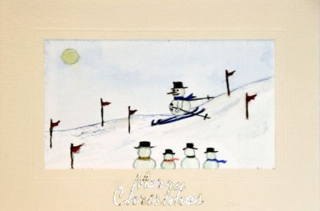 Handmade Christmas cards, Hand painted Christmas cards,Snowman skiing downhill, Christmas greetings cards,handmade Christmas cards,handmade Christmas greetings cards,handmade christmas greeting cards,making