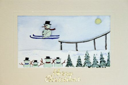 Handmade Christmas cards, Hand painted Christmas cards,Snowman ski jumping in the snow