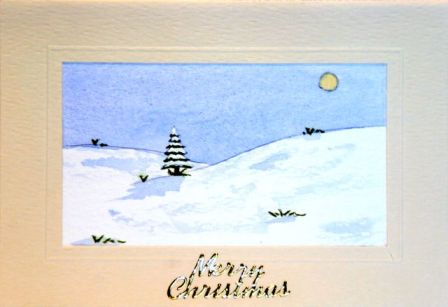 Christmas tree snow scene card