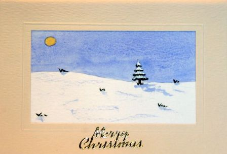 Xmas trees in the snow card