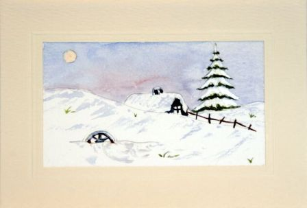 Log cabin snow scene xmas card