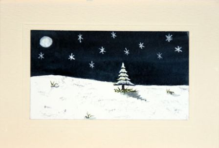 Moon light snow scene