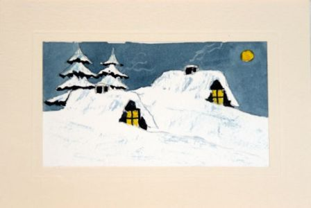 Hand painted greetings card showing two log cabins at night covered in snow