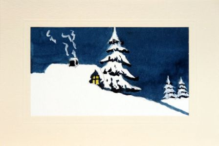 Twilight in the snow Christmas card hand painted in watercolor