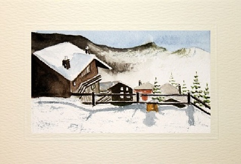 Handpainted Christmas snow scene