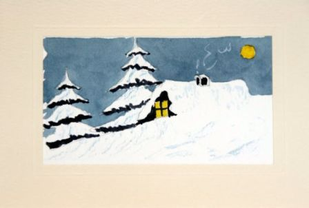 Painted Christmas cards of trees and cabin in the snow