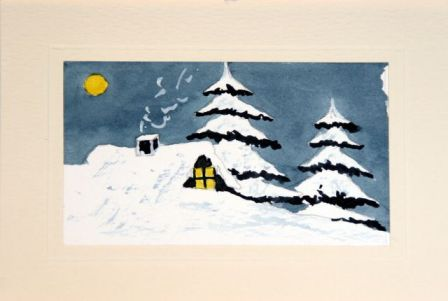 Hand made and painted Christmas card Sun shining on the snow covered cabin roof top