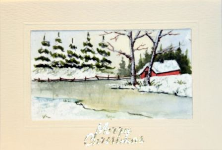 Painting of an Ice covered river snow scene Christmas greetings card
