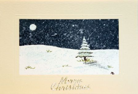 Hand Painted Greetings card Snowfall at night covering the trees at Christmas