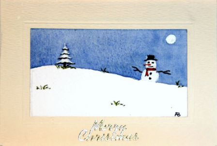 Snowman in the snow handmade Christmas card
