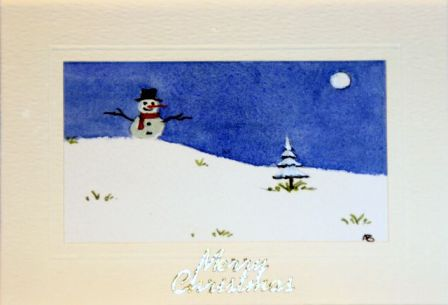 Christmas card Snowman dressed in hat and scarf