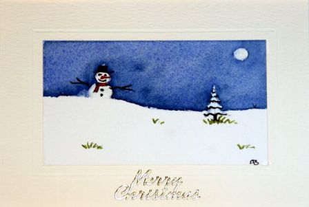 Painted cards of Snowman playing in the snow at Christmas time