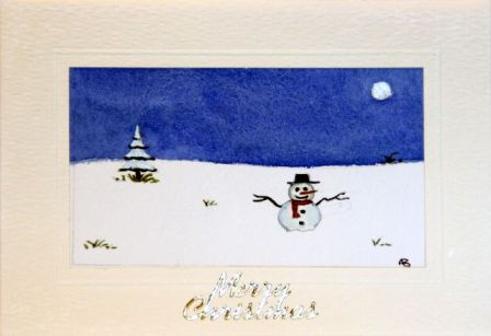 Handmade Christmas cards, Hand painted Christmas cards,Snowman sliding down a hill in the snow,Christmas greetings cards,handmade Christmas greetings cards,handmade christmas greeting cards,making