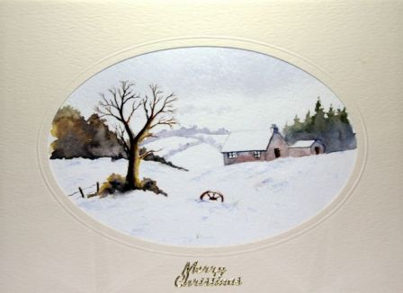 hand made xmas greeting card scene