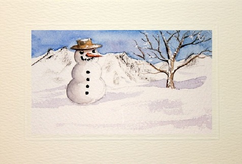 Christmas card showing snow fall