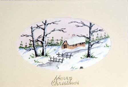 Arts and crafts watercolour christmas cards handmade Christmas card scenes to paint
