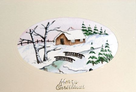 watercolour Christmas card snow scene
