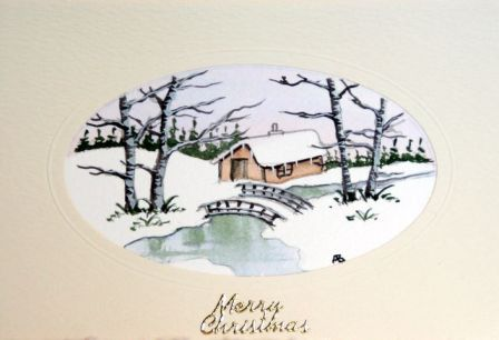 Card depicting christmas in the snow