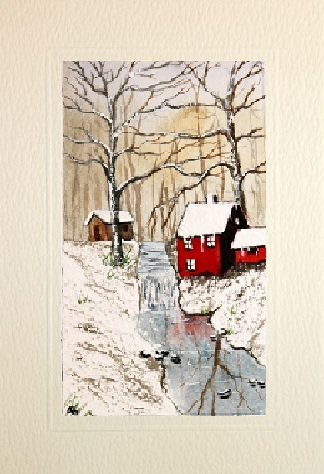 Hand made greeting cards with painting for Painted christmas cards