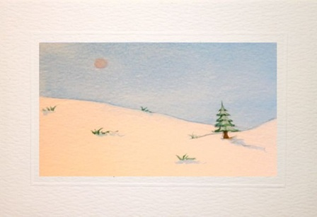 hand made greeting cards showing a winter snow scene