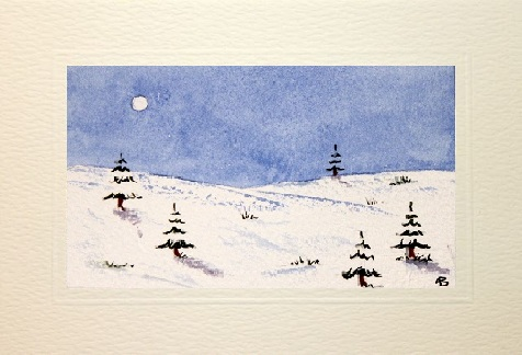 Misty snow scene card