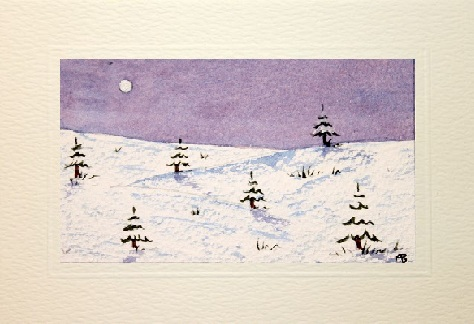 Handmade Water Color greetings cards showing snow falling on the ground