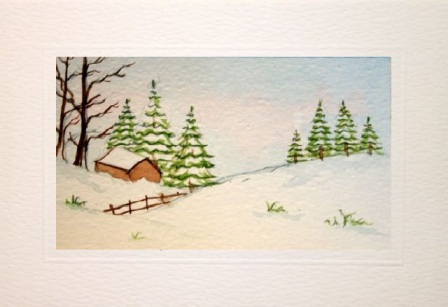 Hand painted cards for christmas
