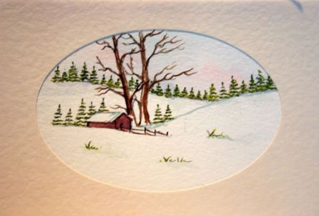 Xmas snow scene card in watercolour