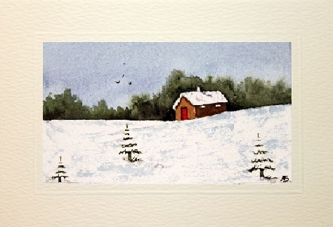 A gap in the snow xmas card