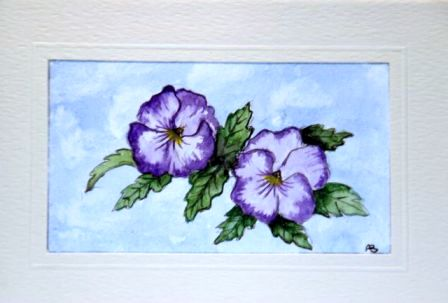 Pair of violet pansies in water colour