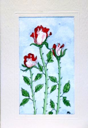 Trio of red roses greeting cards
