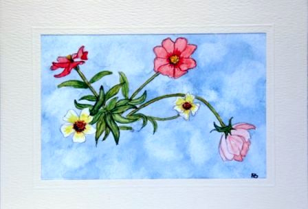 Group of flowers greeting card,hand made cards,handmade greetings cards,handpainted greeting cards,making