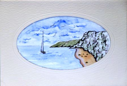 Handmade Water Color seaside greetings cards