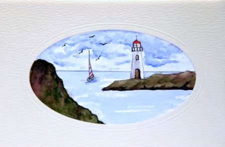 Lighthouse boat sea Birthday Greetings