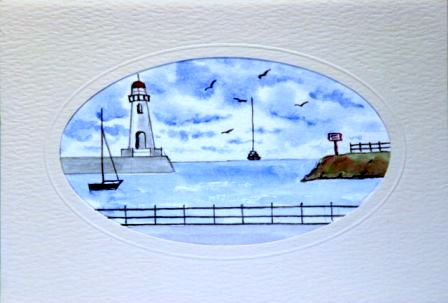 Lighthouse Sea Rocks harbour Birthday Cards