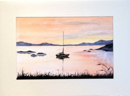 Sunset sail watercolour landscape greeting card
