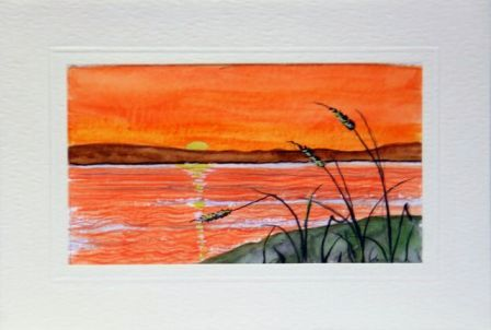 Sunset Sea watercolour cards