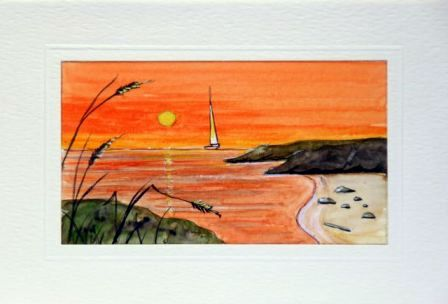 Sailing in to the sunset greeting cards