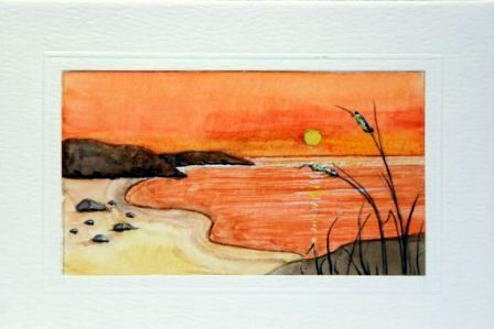 Sunrise beach water Color greetings cards