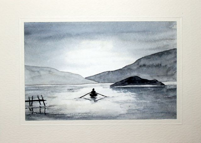 Lone rower on a lake watercolour greeting card