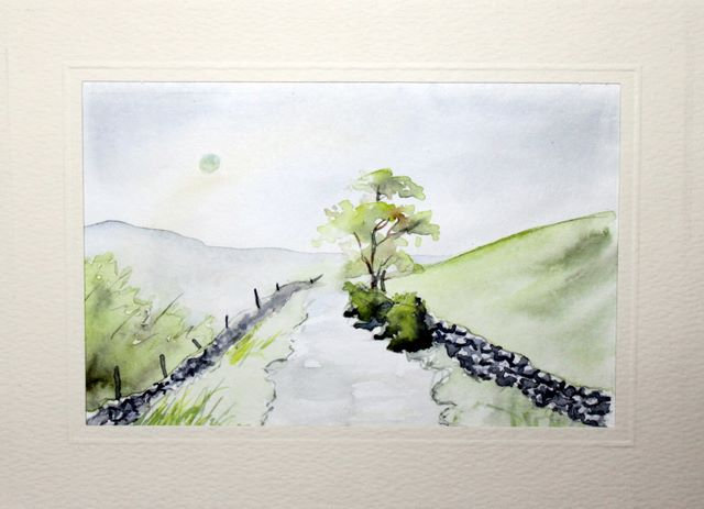 Moorland view watercolour greeting card