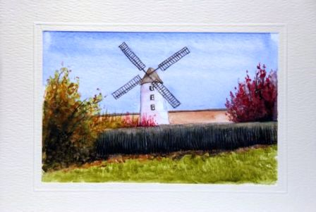 Windmill Water Color greeting card