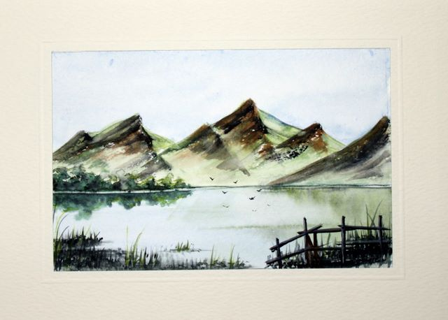 Mountains and Lake watercolour greeting card