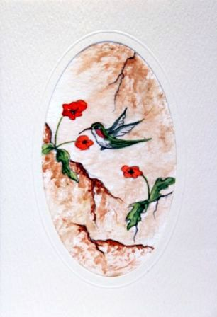 Humming Bird and Poppies
