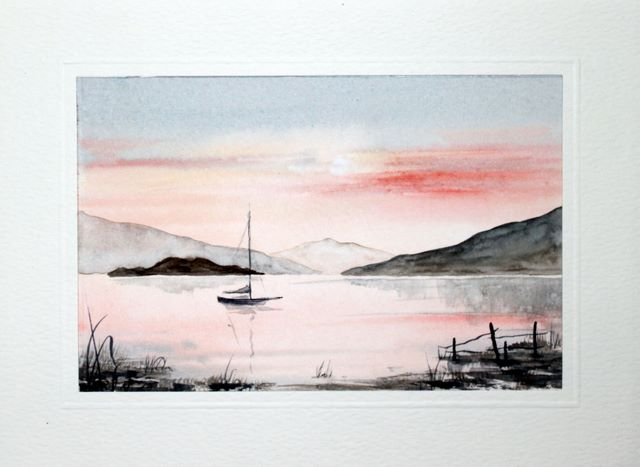 Sunset over the water watercolour greeting card