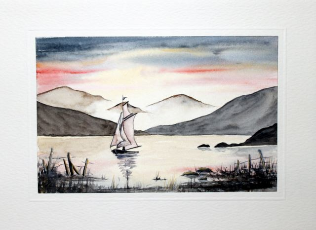 Tall sail boat watercolour greeting card