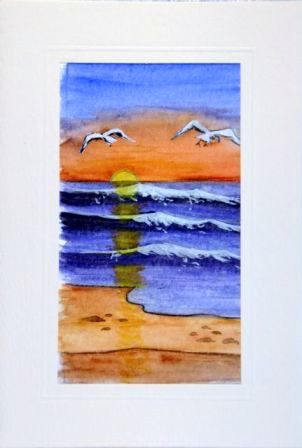 Crashing waves  and birds flying in the wind Water Color greetings cards